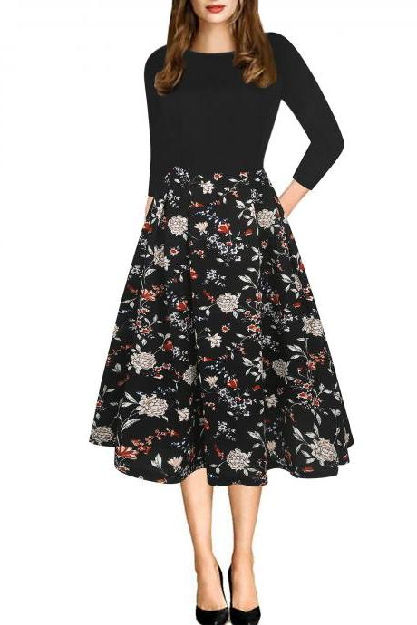 Women Casual Dress Floral/Plaid/Striped Printed 3/4 Sleeve Patchwork Slim A Line Formal Work Party Dress 3#