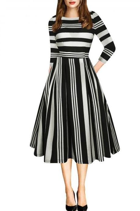 Women Casual Dress Floral/Plaid/Striped Printed 3/4 Sleeve Patchwork Slim A Line Formal Work Party Dress 5#