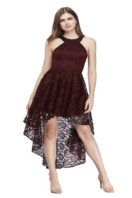 Women Floral Lace Dress O Neck Sexy Sleeveless Backless High Low Club Cocktail Party Dress burgundy