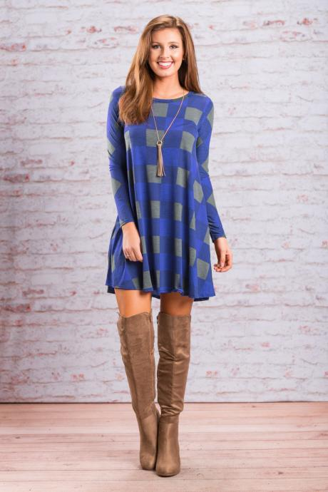 Women Palid Dress Vintage Autumn Long Sleeve Casual Loose Short Streetwear Dress blue
