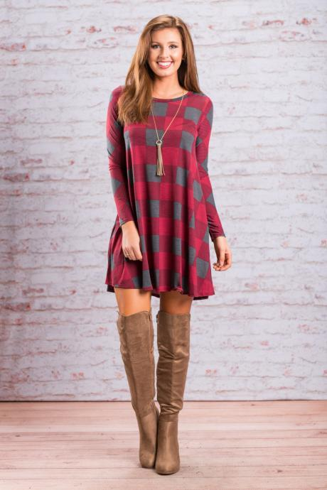 Women Palid Dress Vintage Autumn Long Sleeve Casual Loose Short Streetwear Dress red