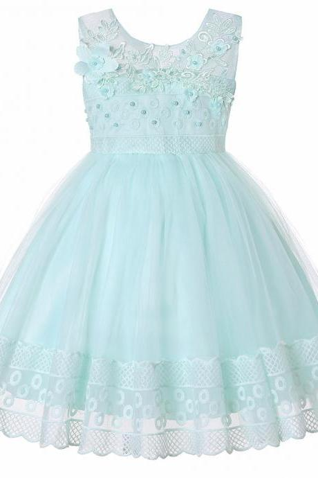 Lace Flower Girl Dress Princess Sleeveless Wedding Formal Birthday Party Tutu Gown Children Clothes aqua