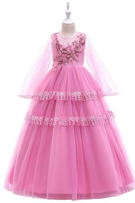 Long Sleeve Flower Girl Dress Layered Lace Teens Formal Birthday Long Party Gown Kids Children Clothes blush