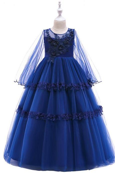 Long Sleeve Flower Girl Dress Layered Lace Teens Formal Birthday Long Party Gown Kids Children Clothes royal blue