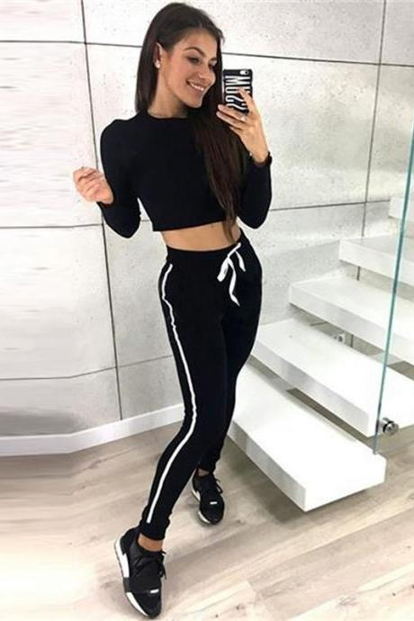 Women Tracksuit Autumn Casual Long Sleeve Crop Top +Long Pants Two Pieces Sets Outfits black