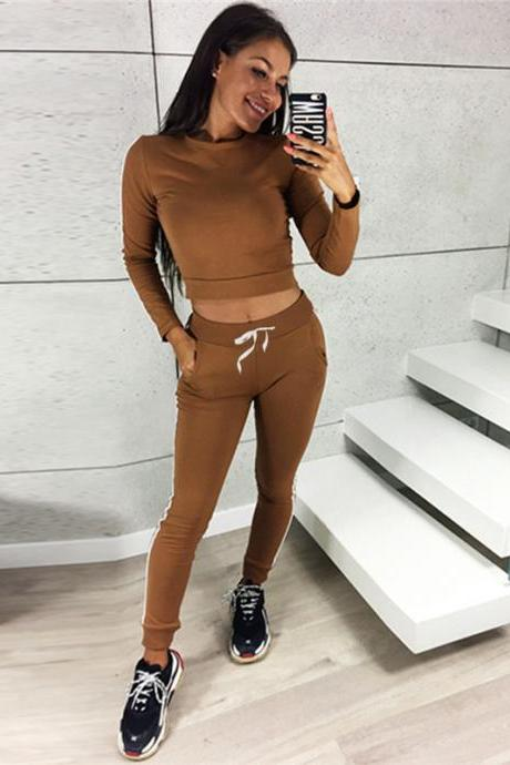 Women Tracksuit Autumn Casual Long Sleeve Crop Top +Long Pants Two Pieces Sets Outfits brown