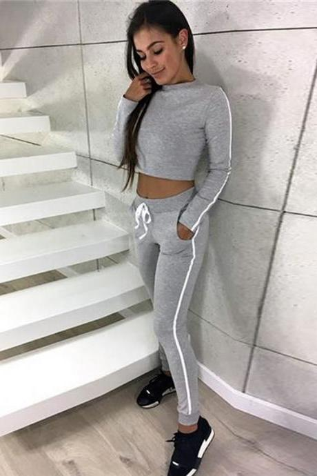 Women Tracksuit Autumn Casual Long Sleeve Crop Top +Long Pants Two Pieces Sets Outfits gray