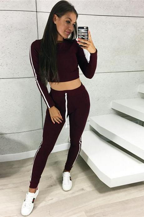 Women Tracksuit Autumn Casual Long Sleeve Crop Top +Long Pants Two Pieces Sets Outfits wine red
