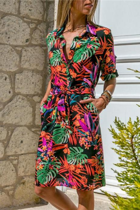 Women Floral Printed Shirt Dress Long Sleeve Turn Down Collar Belted Casual Straight Dress orange