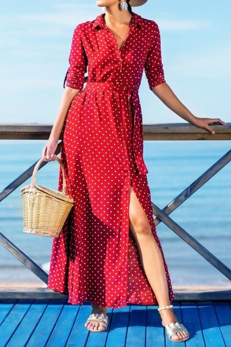 Women Polka Dot Maxi Dress Split Long Sleeve Casual Beach Holiday Boho Long Party Dress red