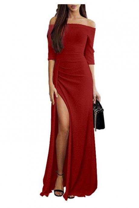 Women Bodycon Dress Long Sleeve Off the Shoulder Glitter High Split Maxi Long Evening Party Dress red