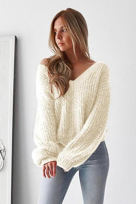 Women Knitted Sweater Autumn Winter Deep V Neck Long Sleeve Backless Loose Thicken Pullover Tops