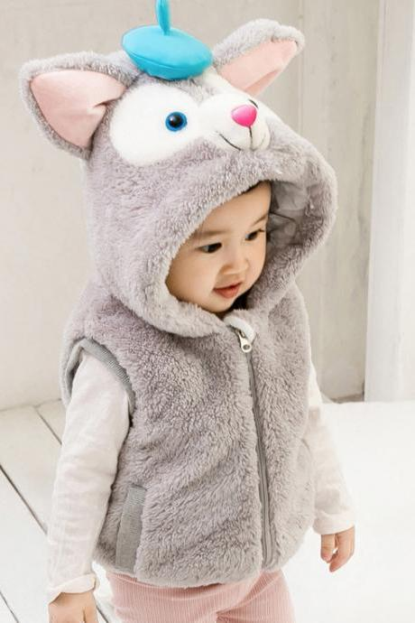 Baby Boys Girls Fleece Waistcoat Winter Warm Cartoon Vest Hooded Kids Children Sleeveless Coat gray