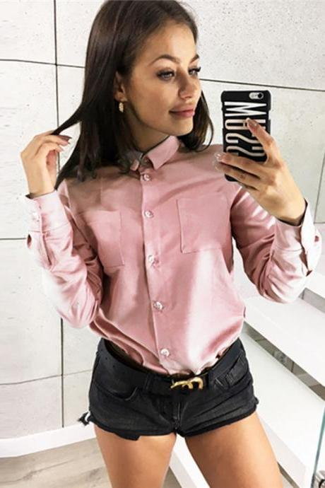 Women Shirt Button Turn-down Collar Long Sleeve Work Office OL Lady Casual Loose Blouse Tops pink