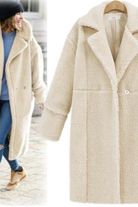 Women Faux Fur Teddy Coat Turn-down Collar Long Sleeve Winter Thick Warm Fluffy Jacket Overcoat Outwear beige