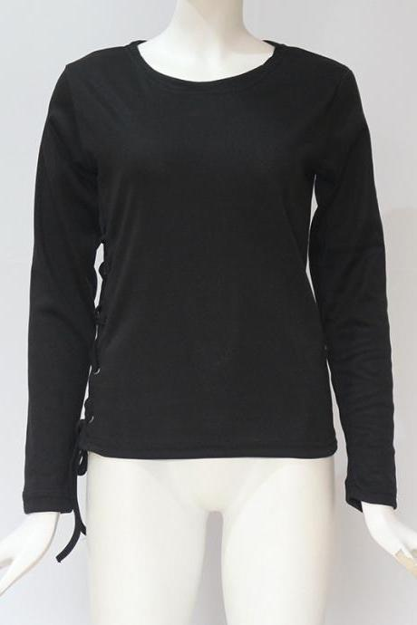 Women Long Sleeve T Shirt Autumn Sexy Side Lace Up Bandage Casual Slim Pullover Tops black