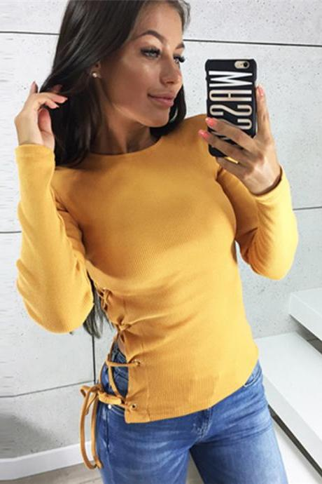 Women Long Sleeve T Shirt Autumn Sexy Side Lace Up Bandage Casual Slim Pullover Tops yellow
