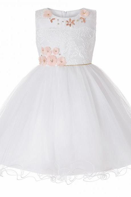 Princess Lace Flower Girl Dress Sleeveless Teens Wedding Formal Birthday Party Tutu Gown Children Clothes off white