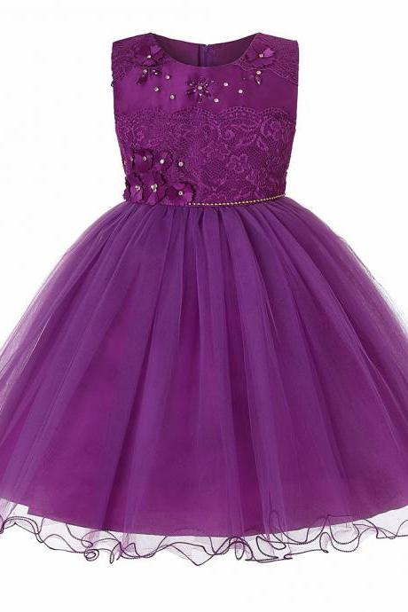 Princess Lace Flower Girl Dress Sleeveless Teens Wedding Formal Birthday Party Tutu Gown Children Clothes purple