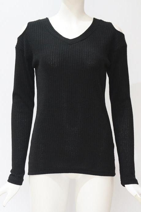 Women Knitted Long Sleeve T Shirt Autumn Solid V Neck Casual Slim Off the Shoulder Pullover Tops black