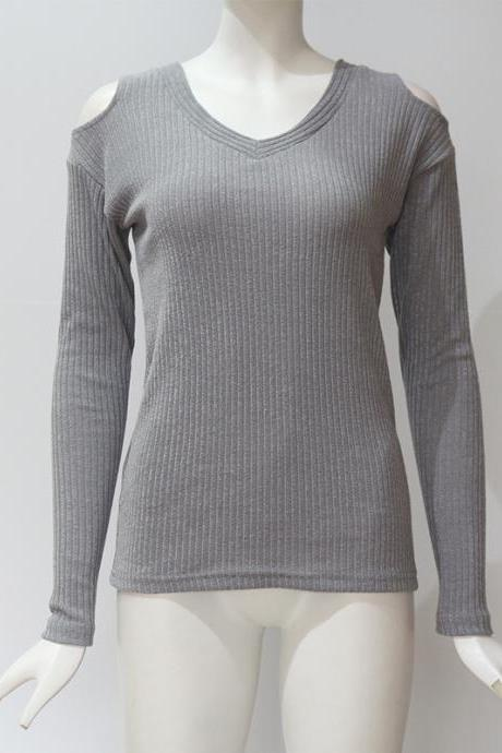 Women Knitted Long Sleeve T Shirt Autumn Solid V Neck Casual Slim Off the Shoulder Pullover Tops gray