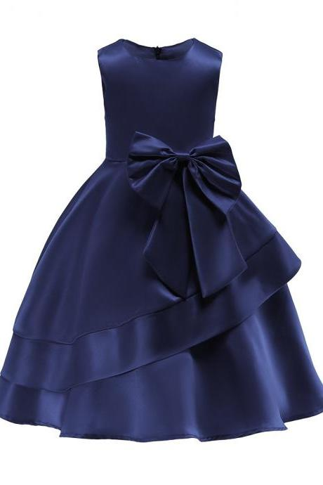 Sleeveless Flowers Girl Dress Layered Bow Princess Formal Birthday Party Gown Children Kids Clothes navy blue