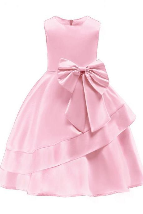Sleeveless Flowers Girl Dress Layered Bow Princess Formal Birthday Party Gown Children Kids Clothes pink