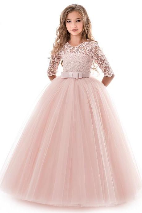 Long Flower Girl Dress Half Sleeve Lace Teens Formal Perform Party Tutu Gown Kids Children Clothes pink