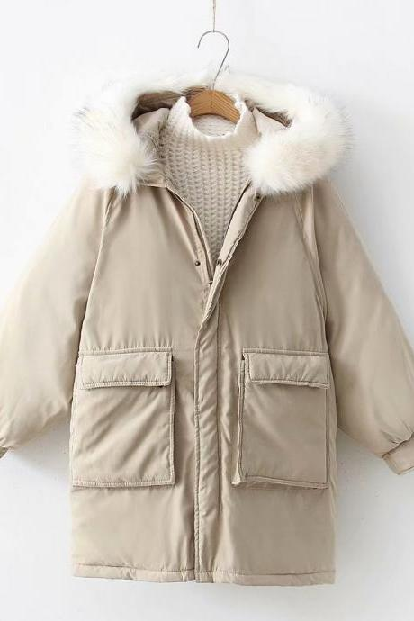 Women Parkas Coat Winter Warm Thick Long Sleeve Pockets Hooded Casual Loose Cotton Down Jacket khaki