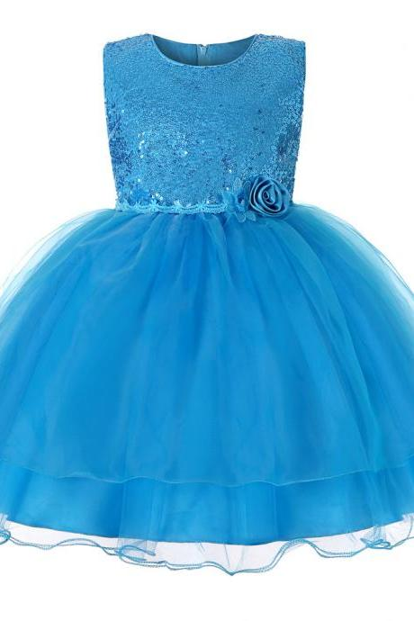 Sequined Flower Girl Dress Sleeveless Teens Wedding Formal Birthday Party Gown Children Kids Clothes sky blue