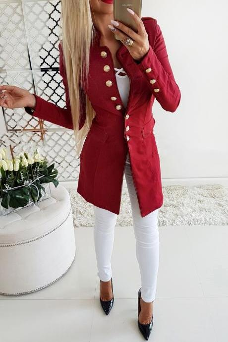 Women Slim Suit Coat Autumn Long Sleeve Single Breasted Button OL Casual Blazer Jacket Outwear red