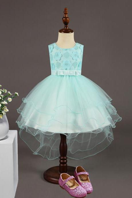 High Low Flower Girl Dress Sleeveless Trailing Wedding Birthday Toddler Party Tutu Gown Children Clothes aqua