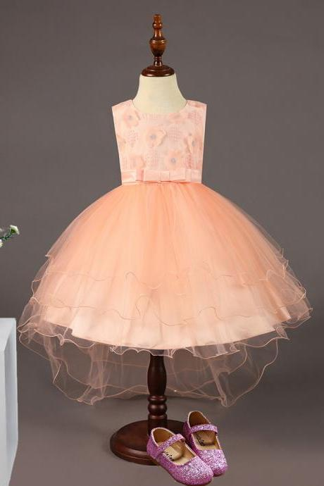 High Low Flower Girl Dress Sleeveless Trailing Wedding Birthday Toddler Party Tutu Gown Children Clothes salmon