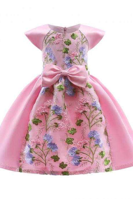 Embroidery Lace Flower Girl Dress Cap Sleeve Princess Birthday Formal Party Tutu Gown Children Kids Clothes pink
