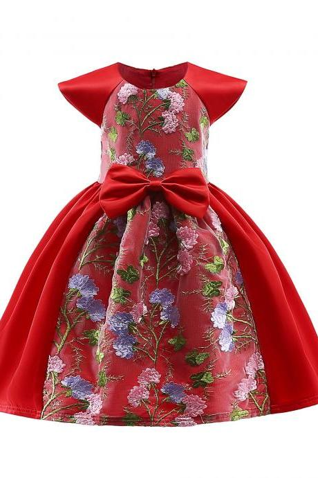 Embroidery Lace Flower Girl Dress Cap Sleeve Princess Birthday Formal Party Tutu Gown Children Kids Clothes red