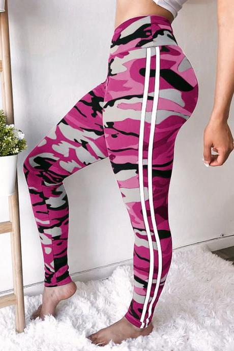 Women Camouflage Printed Leggings Elastic Waist Skinny Casual Fitness Jegging Camo Sweatpants Pencil Pants deep pink