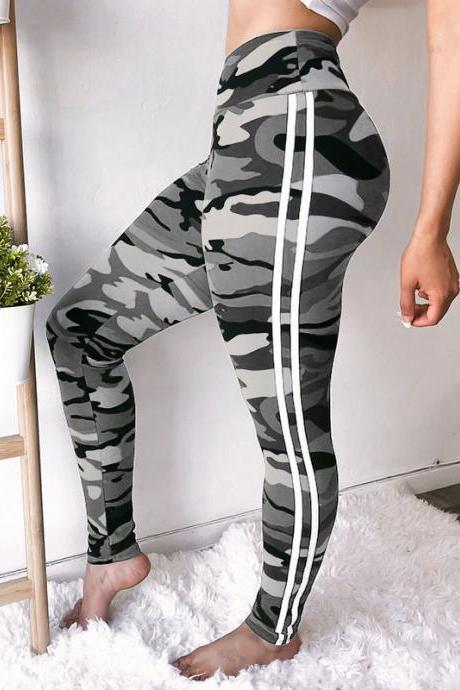 Women Camouflage Printed Leggings Elastic Waist Skinny Casual Fitness Jegging Camo Sweatpants Pencil Pants gray