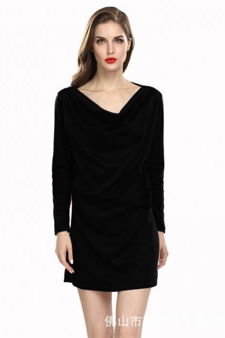 Women Casual Dress Solid Cotton Pocket Loose Long Sleeve Pleated Mini Club Party Dress black