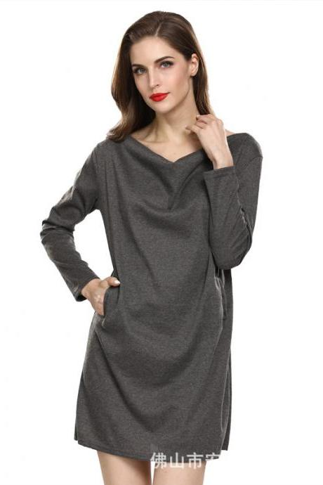 Women Casual Dress Solid Cotton Pocket Loose Long Sleeve Pleated Mini Club Party Dress gray
