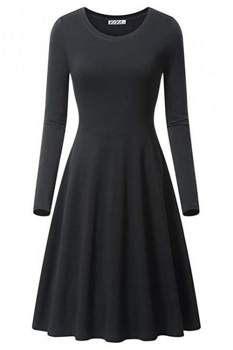 Women Casual Dress Autumn Long Sleeve O Neck Slim Work Office A Line Formal Party Dress black