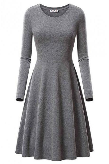 Women Casual Dress Autumn Long Sleeve O Neck Slim Work Office A Line Formal Party Dress gray