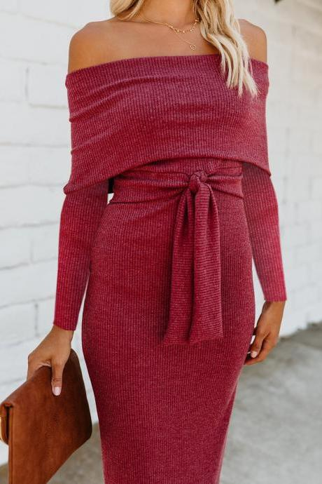 Women Pencil Dress Autumn Off Shoulder Slash-Neck Long Sleeve Belted Casual Bodycon Slim Club Party Dress 100194-crimson