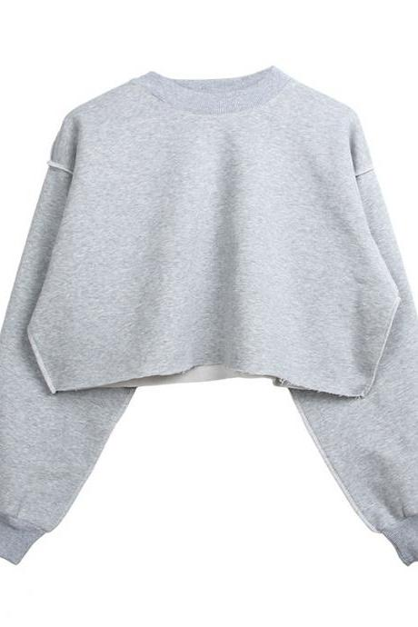 Women Crop Tops Autumn Winter Long Sleeve Pullover Casual Loose Short Fleece Sweatshirt silver gray