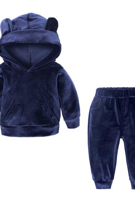 Baby Boys Girls Velvet Tracksuit Autumn Hoodie Long Pants Two Pieces Clothing Sets Children Outfits navy blue