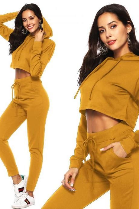Women Tracksuit Autumn Winter Casual Hooded Crop Top Long Pants Two Piece Sets Suit Outfits yellow