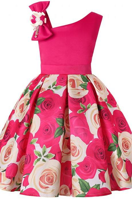 Floral Printed Flower Girl Dress Sleeveless Skew Shoulder Formal Birthday Party Tutu Gown Children Kids Clothes hot pink