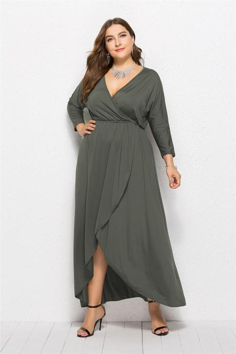 Women Asymmetrical Maxi Dress V-Neck Long Sleeve Plus Size Slim Long Formal Evening Party Dress gray-green