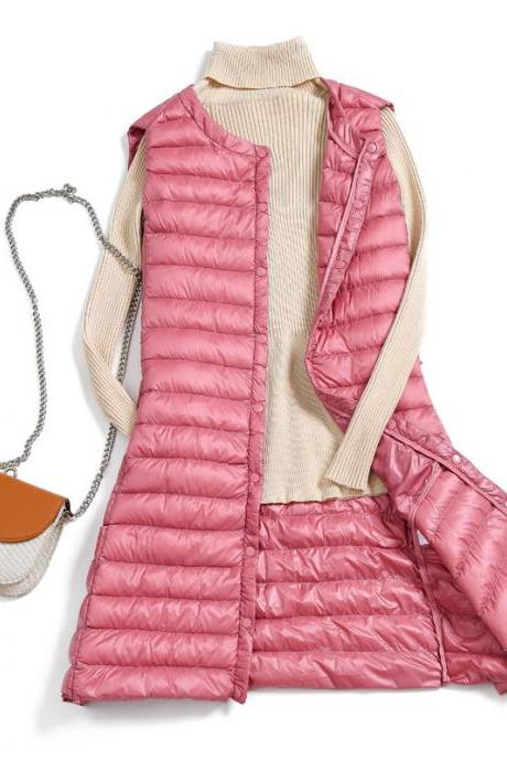 Women Ultra Light Vest Coat Autumn Winter Warm Slim Long Waistcoat Duck Down Sleeveless Jacket pink