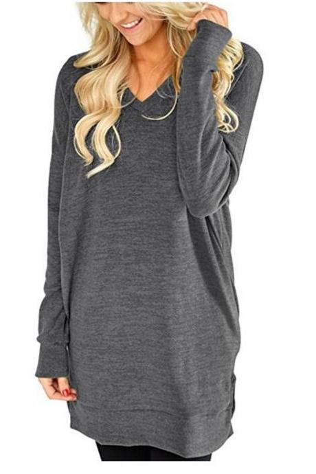 Women Casual Dress Autumn V Neck Long Sleeve Split Loose Pullover Mini T Shirt Dress dark gray