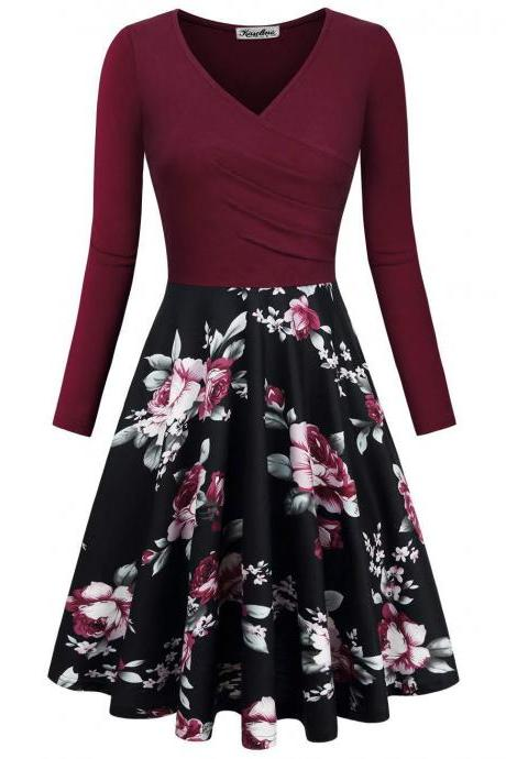 Women Floral Printed Dress Autumn V Neck Long Sleeve Patchwork Slim A Line Casual Party Dress wine red